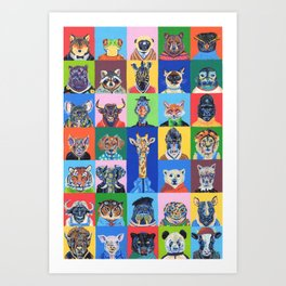 Collage animales Art Print