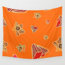Snazzy Fall Flowers on Orange Wall Tapestry