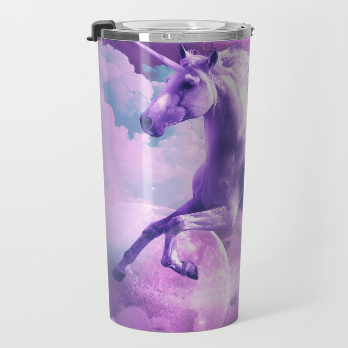 Kitty Cat Riding On Flying Space Galaxy Unicorn Travel Mug