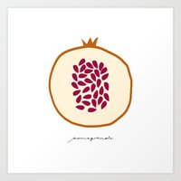 pomegranate Art Prints featuring POMEGRANATE by Lara Trimming