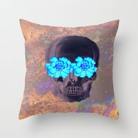 day of the dead Throw Pillows featuring Day of the Dead by Charlotte Anderson