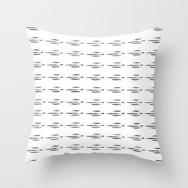 Japanese ink pattern 1 black and white Throw Pillow