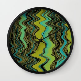 Squiggles in Black, Aqua, Gold, and Green Wall Clock