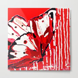 BUTTERFLY Red and White Glowing Metal Print