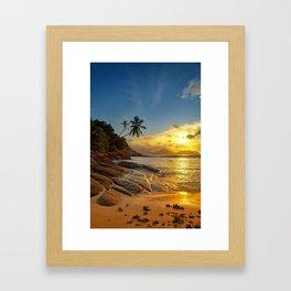 rocks and palms Framed Art Print