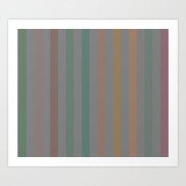 Line pattern 1 - pink , brown , light green , dark green and orange Art Print