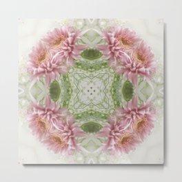 Pink Chrysanthemums Kaleidoscope Art 8 Metal Print