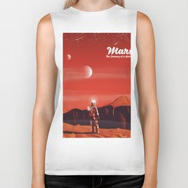 Mars Vintage Space Travel poster Biker Tank