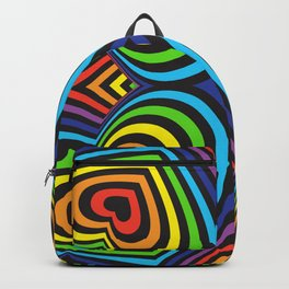 Three-dimensional volumetric pattern. colorful rainbow on black background Backpack