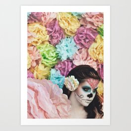 Sugar Skulls, Paper Flowers; Chasing Light, The Golden Hour Art Print