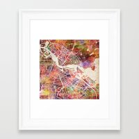 amsterdam Framed Art Prints featuring Amsterdam by MapMapMaps.Watercolors