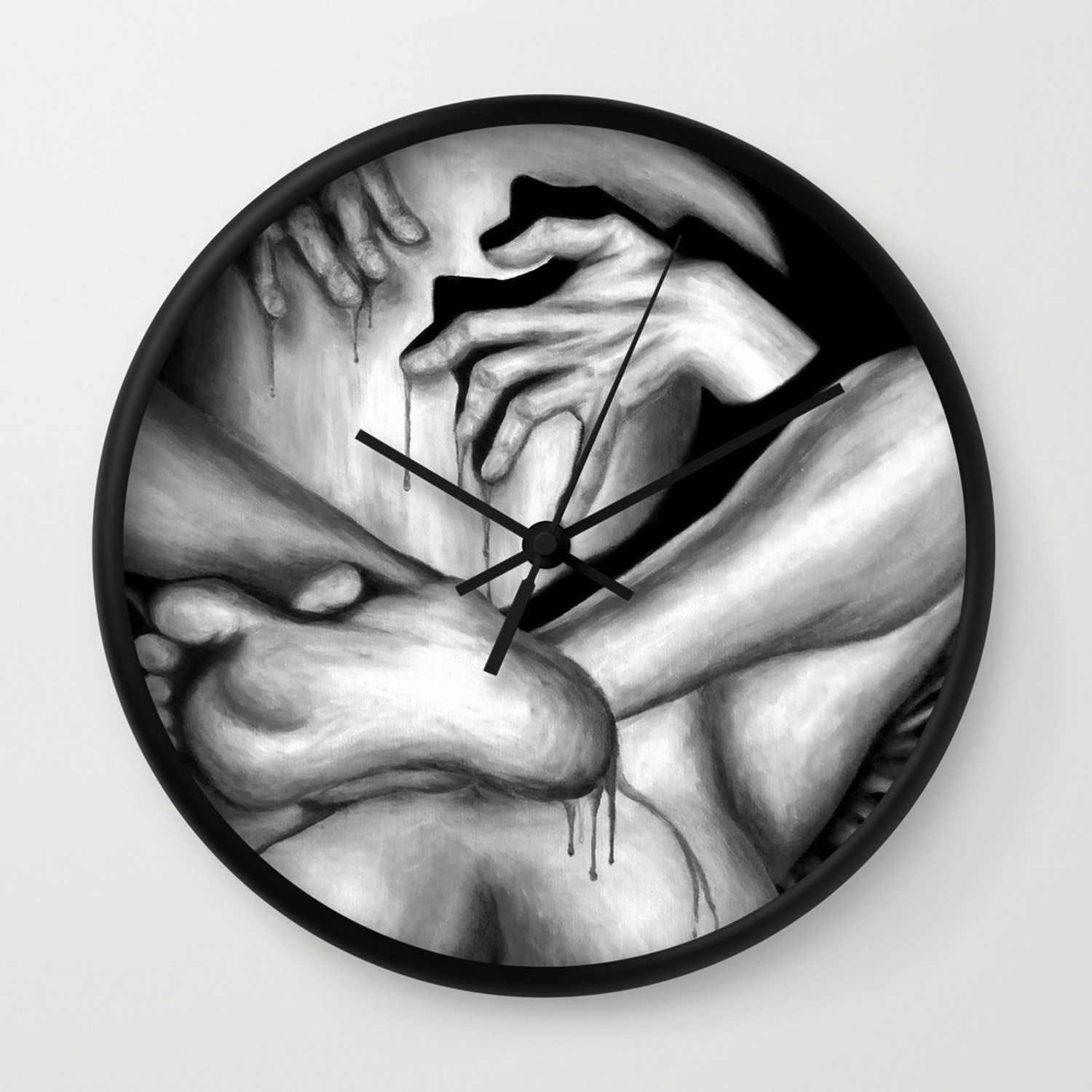 Passionate love blackwhite erotic art illustration nude sex sexual love lovers relationship wall clock by nymphainna society6