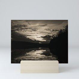 Sundown At Lake Heve 6 sepia Mini Art Print