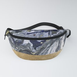 Midnight golden geometric marble Fanny Pack