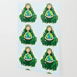 Beautiful Flowing Flower Earth Mother Figure Wallpaper