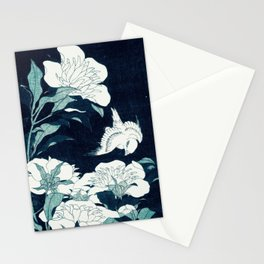 JAPANESE FLOWERS Midnight Blue Teal Stationery Cards