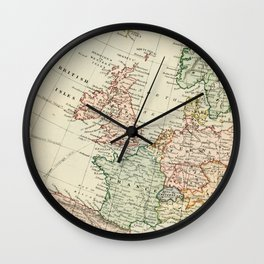 Old Map of the West of Europe Wall Clock