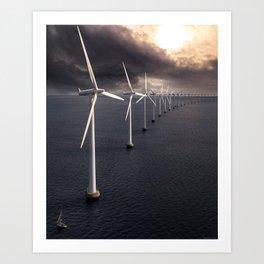 Windmill farm at sea Art Print
