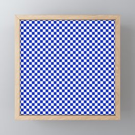 Small Cobalt Blue and White Checkerboard Pattern Framed Mini Art Print
