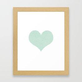 Blue Herringbone Heart Framed Art Print