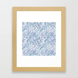 Hand painted pink blue watercolor tropical leaves floral Framed Art Print