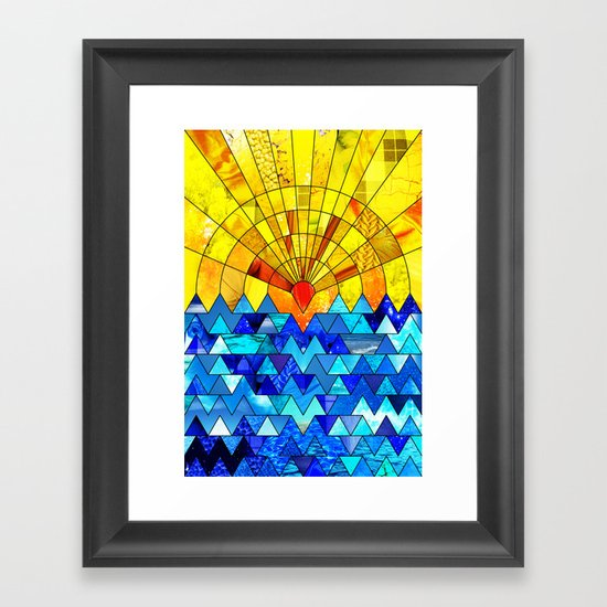 Sun & Sea Collage Framed Art Print