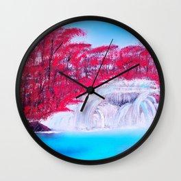 Crimson Cascade Wall Clock