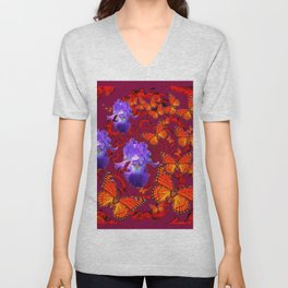 Lilac Iris  Monarch Butterflies Burgundy Color Unisex V-Neck
