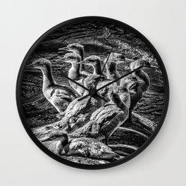 A Bouquet of Mergansers bw Wall Clock