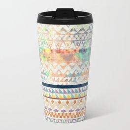 Blue Orange Andes Abstract Aztec Pattern Fashion watercolors Travel Mug