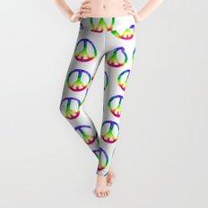 Rainbow Watercolor Peace Sign Leggings