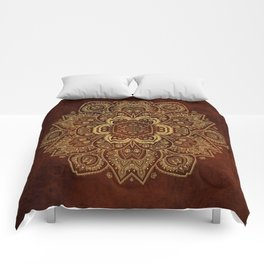 Gold Flower Mandala on Red Textured Background Comforters