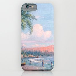 Waikiki Beach, Diamond Head, Oahu landscape painting by D. Howard Hitchcock iPhone Case