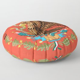 Mexican Crest on Adobe red Floor Pillow
