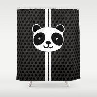 racing Shower Curtains featuring Racing Panda by XOOXOO
