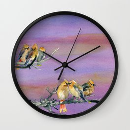 Bohemian Waxwings Birds Wall Clock