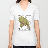 t rex V-neck T-shirts featuring T-rex by tokyon