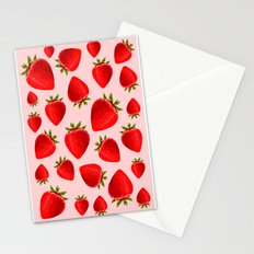 strawberry pattern in pink Stationery Cards