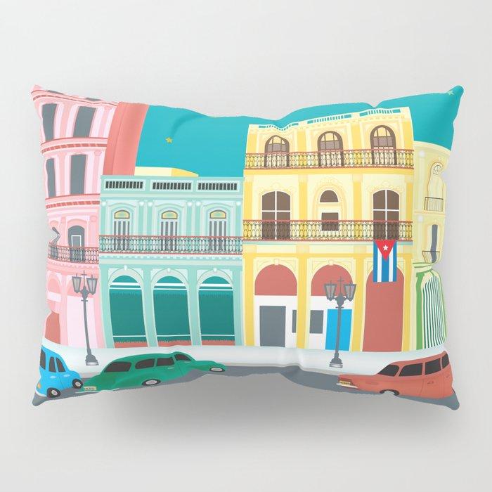 Havana, Cuba - Skyline Illustration by Loose Petals Pillow Sham