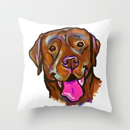 The happy Chocolate Lab Love of My Life Throw Pillow