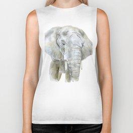 Elephant Watercolor Painting - African Animal Biker Tank