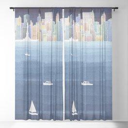 New York City NYC skyline panorama Manhattan Sheer Curtain