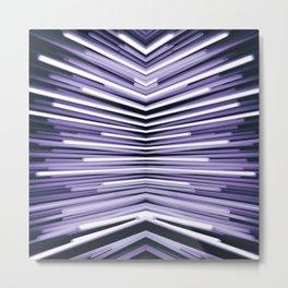 purple cyber zebra lights industrial cyberpunk aesthetic abstract art print (1 of 3 set) Metal Print