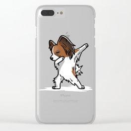 Funny Dabbing Papillon Dog Dab Dance Clear iPhone Case