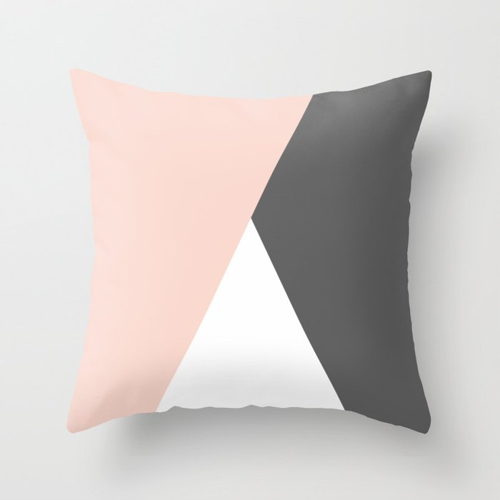 Elegant Blush Pink Grey Geometric Triangles Throw Pillow By Naughtycat Society6