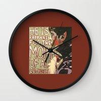 derek hale Wall Clocks featuring Derek by Probably Plaid