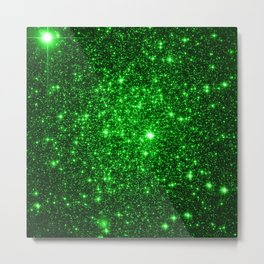 gAlAXy Green Sparkle Stars Metal Print