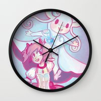madoka Wall Clocks featuring Madoka & Mega Audino by Sarsoura