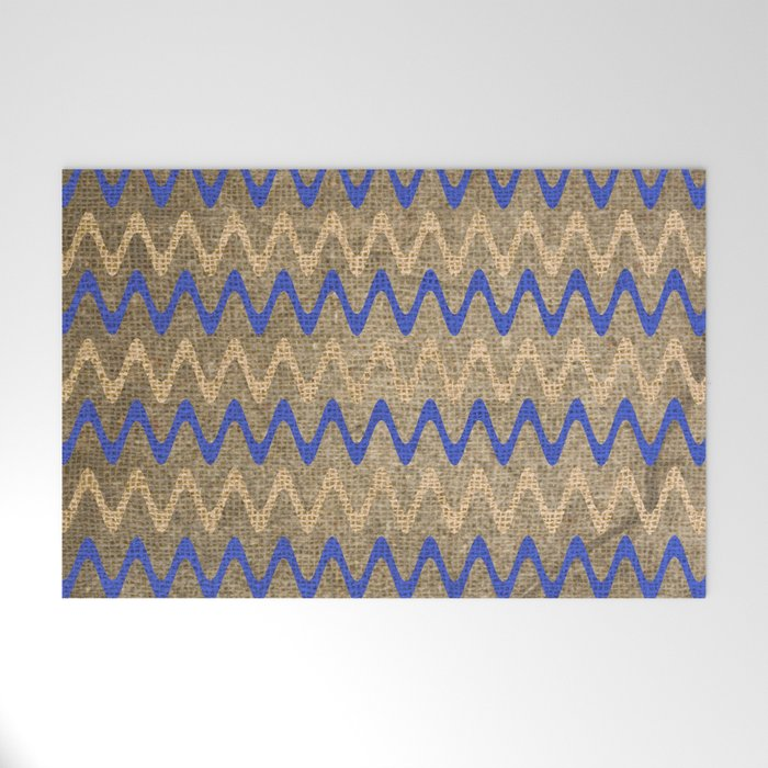 Blue and Tan Zigzag Stripes on Grungy Brown Burlap Graphic Design Welcome Mat