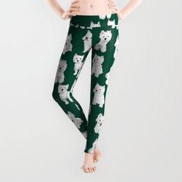 Westies on Green Leggings